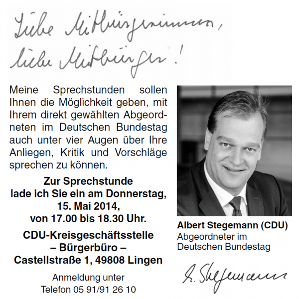 Stegemann hat seine erste Sprechstunde am 15.Mai 2014 in Lingen