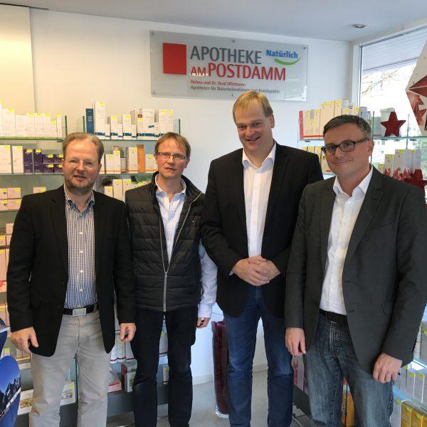 Dr. Gerd Uffelmann, Ulrich Dreischulte, Albert Stegemann und Lars Steffgen im Rahmen des Gesprächs